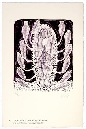 Lithographie Nørgaard - B. L'immaculée conception, la paradoxe chrétien, tous les petits Jésus, l'innocence momifiée
