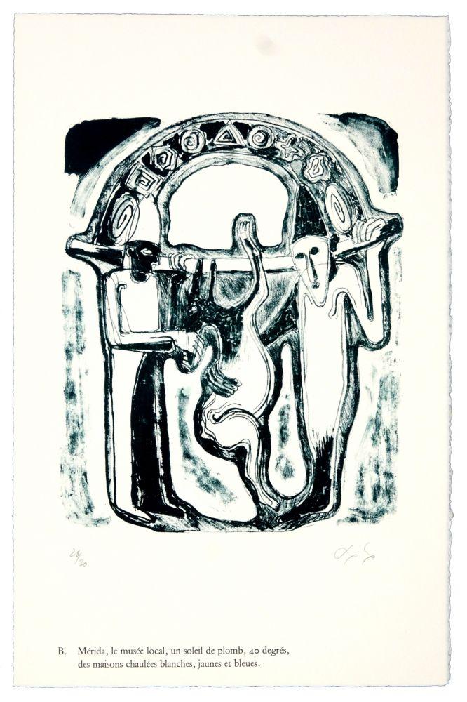 Lithographie Nørgaard - B. Mérida, le musée local, un soleil de plomb, 40 degrés, des maisons chaulées blanches, jaunes et bleues