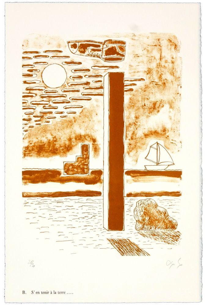 Lithographie Nørgaard - B. S'en tenir à la terre.