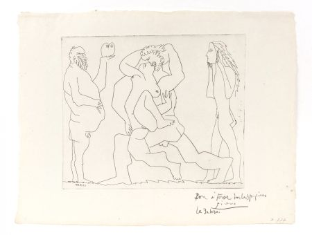Gravure Picasso - Bacchanal with Owl and Young Man in a Mask