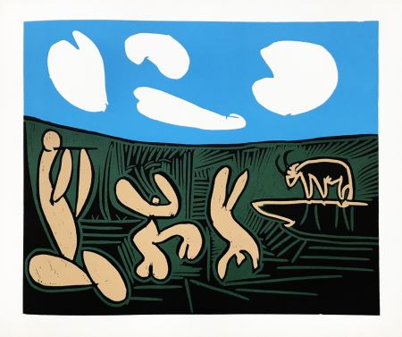 Linogravure Picasso (After) - Bacchanale au taureau
