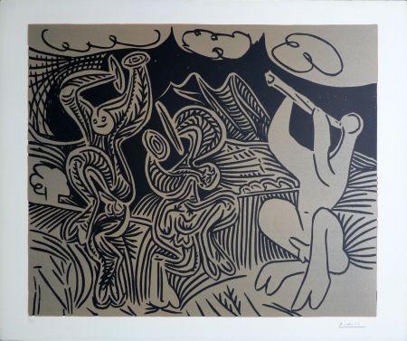 Linogravure Picasso - Bacchanale: Flutiste Et Danseurs Aux Cymbales