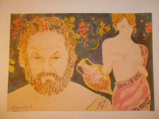 Lithographie Bonnefoit - Bacchus et Aphrodite