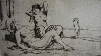 Gravure Wilm - Badende Frauen / Bathing Women