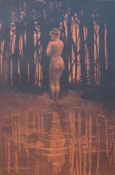 Lithographie Dillon - Baigneuse