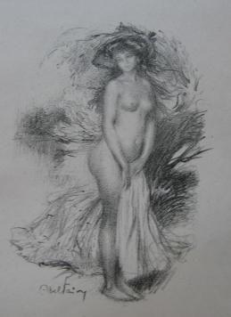 Lithographie Faivre - Baigneuse