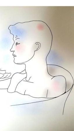 Lithographie Cocteau - Bain