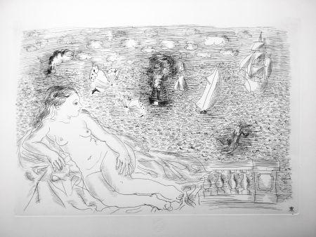 Eau-Forte Dufy - BALCON SUR LA MER (Baigneuse aux Papillons). 1925