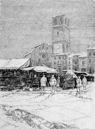 Eau-Forte Cotugno  - Bancarelle al mercato a Lodi