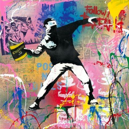 Sérigraphie Mr Brainwash - Banksy Thrower, 2015