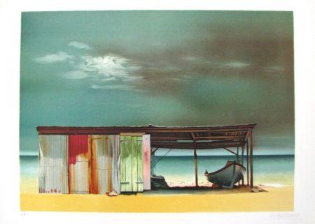 Lithographie Battut - Baraque sur la plage