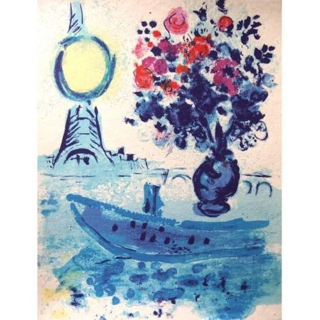 Lithographie Chagall - Bateau Mouche au bouquet