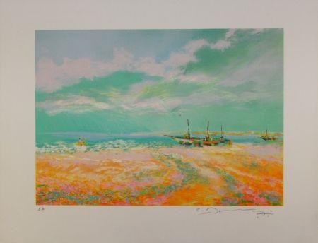 Lithographie Manoukian - Bateaux à voile / Sailboats