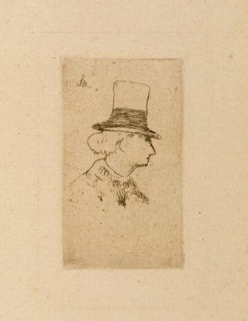 Eau-Forte Manet - Baudelaire de profile en chapeau II