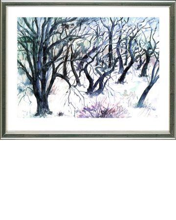 Lithographie Grass - Baumlandschaft  Winter