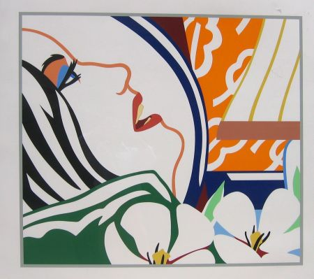 Sérigraphie Wesselmann - Bedroom Face with Orange Wallpaper