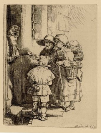 Gravure Rembrandt - Beggars Receiving Alms at the Door of a House