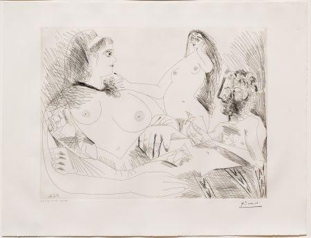 Gravure Picasso - Belle Jeune Femme a sa Toilette Revant