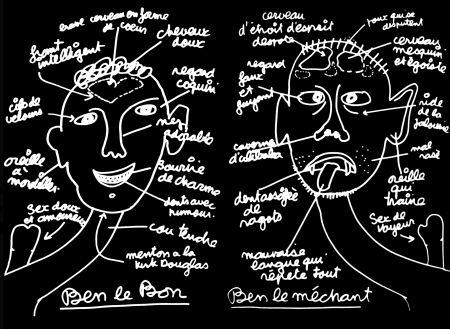 Sérigraphie Vautier - '' Ben Le Bon, Ben le Méchant ''