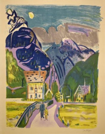 Lithographie Wiegers  - (Bergdorf bei Davos)