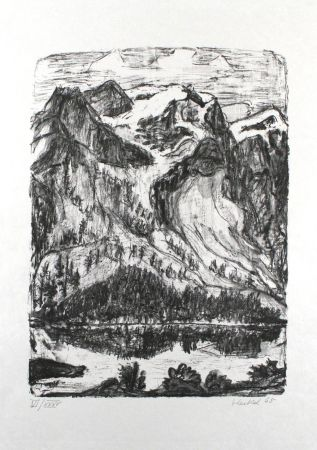 Lithographie Heckel - Berghang am See