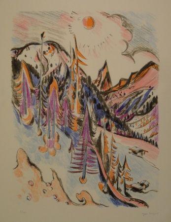 Lithographie Wiegers  - Berglandschaft bei Davos mit Tinzenhorn
