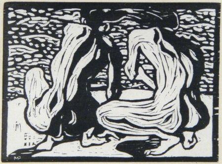 Gravure Sur Bois Pechstein - Betrachtung (Watching Out)