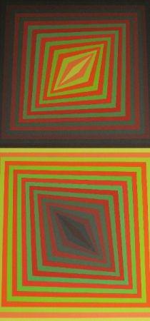 Sérigraphie Vasarely - Bi-Rhomb