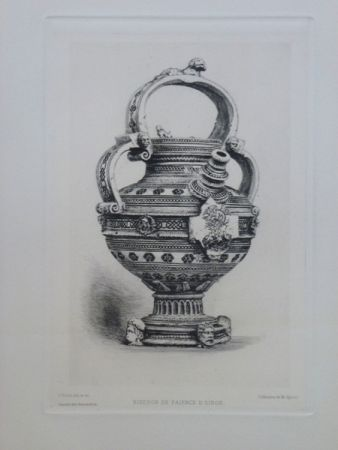 Gravure Buhot - Biberon en faïence d'Oiron