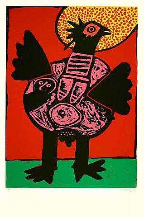 Lithographie Corneille - Big bird (Grosser Vogel)