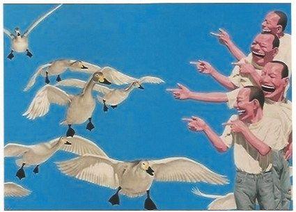 Sérigraphie Minjun - Big swans