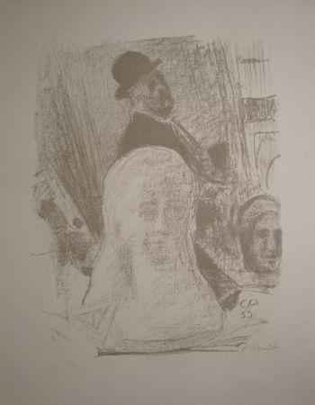 Lithographie Amiet - Bildnis des Künstlers mit Büste der Gattin