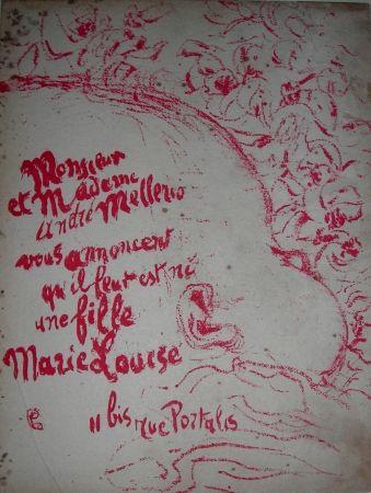 Lithographie Bonnard -  Billet de naissance de Marie Louise Mellerio