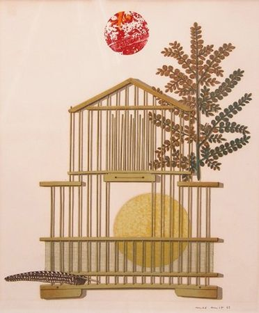 Lithographie Ernst - Bird Cage, Feather, Branch And Sun