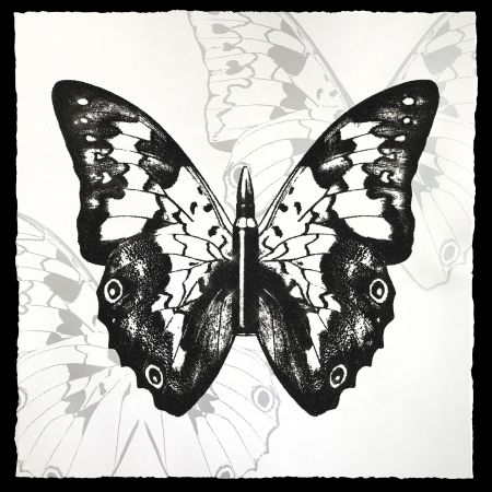 Sérigraphie Robierb - Black Butterfly on White