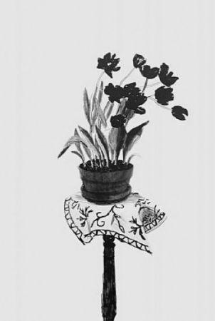 Lithographie Hockney - Black Tulips