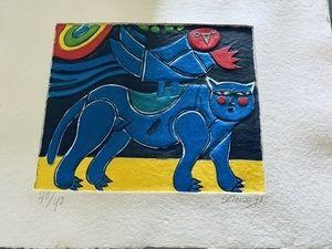 Carborundum Corneille - Blauer Vogel mit Katze