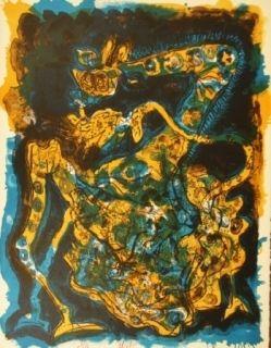 Lithographie Nieto - Blaugelbe Giraffe