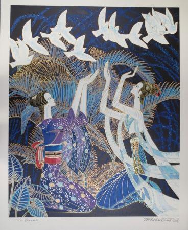 Lithographie Ting - Blue birds