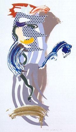 Sérigraphie Lichtenstein - Blue Face, Brushstoke Figure Series