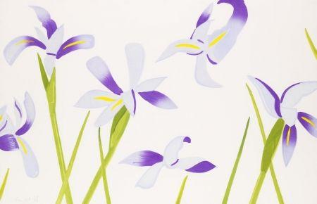 Gravure Sur Bois Katz - Blue Irises