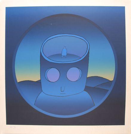 Sérigraphie Folon - Blue Man - L'Homme Bleu