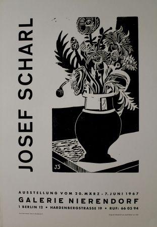 Gravure Sur Bois Scharl - Blumen in hoher Vase