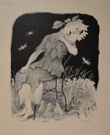 Lithographie Kreidolf - Blumenmädchen auf Stuhl sitzend, nach links unten zu Heuschrecken, Ameisen und Faltern blickend.