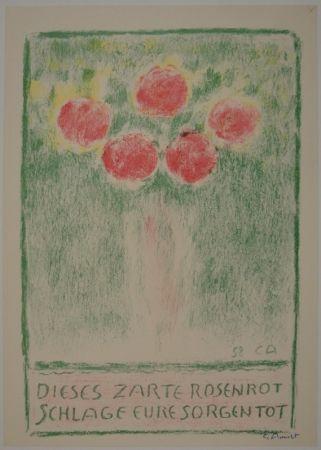 Lithographie Amiet - Blumenvase mit Rosen