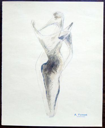 Aucune Technique Àngel - Boceto escultura - Original Drawing