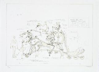 Lithographie Delarozière - Boeuf de manège