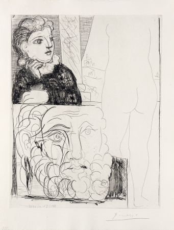 Gravure Picasso - Bonne dans l'atelier de sculpture