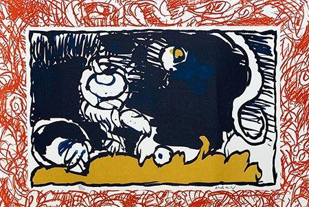 Lithographie Alechinsky - Bonnet blanc