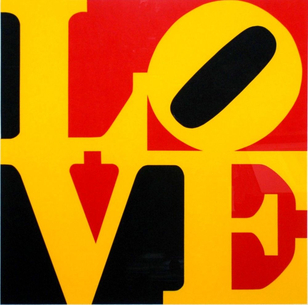 Sérigraphie Indiana - Book of Love #9 (Black, Yellow, and Red - German Love)